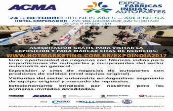Expo Indian manufacturers of auto parts on 24 October 2017 in Buenos Aires, Argentina.