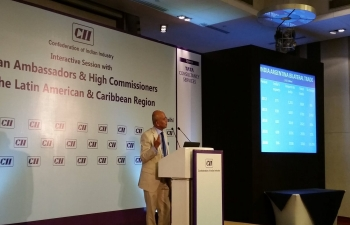 Indian Ambassadors in Latin America and Caribbean  interact with Indian corporates at CII event in New Delhi.