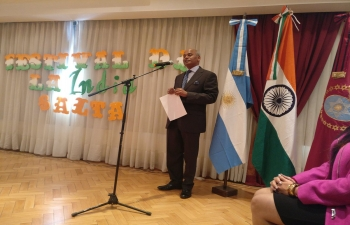 Amb. Sanjiv Ranjan addresses the gathering at the Festival of India in Salta, celebrating the 70th anniversary of Indias Independence