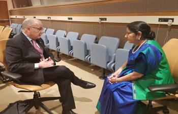 EAM Smt. Sushma Swaraj holds talks with the Argentine FM Jorge Marcelo Faurie at UNGA