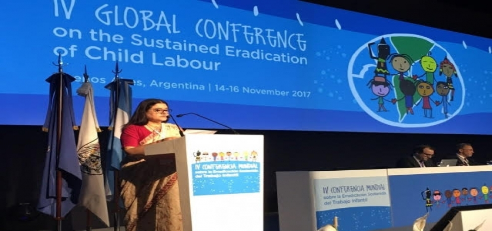 Minister for Women & Child Development, Smt. Maneka Gandhi made Country Statement in the Plenary session at IV Global Conference on Sustained Eradication of Child Labour on 14 November 2017 in Buenos Aires, Argentina.