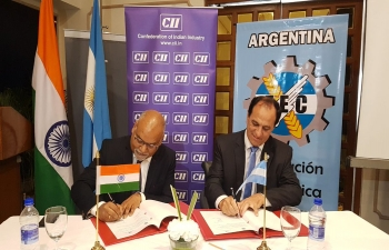 A business delegation from Argentina visits India