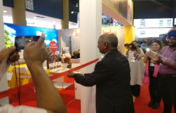Ambassador Sanjiv Ranjan inaugurates the India stand at the Feria Internacional de Turismo in La Rural