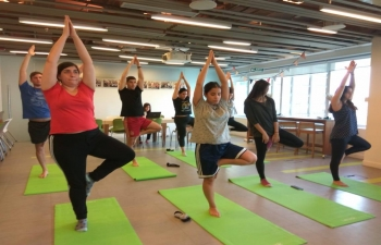 Teacher of Indian Culture Ms Sumedha Rani is practicing  Yoga sessions to corporate employees in Buenos Aires.