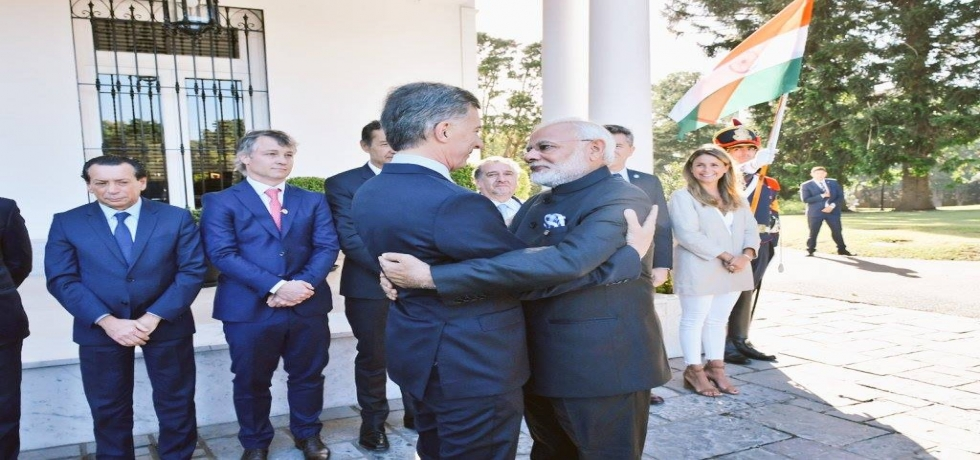 Honorable Prime Minister of India, Shri Narendra Modi meets President of Argentina Mr. Mauricio Macri in Buenos Aires