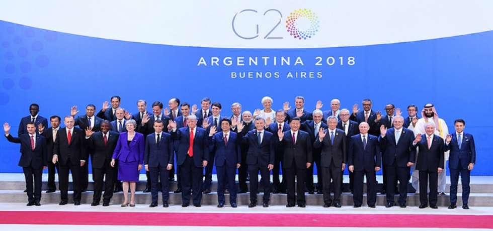 Group Photo of Prime Minister and G20 Members at Plenary Session of G20 Summit in Buenos Aires