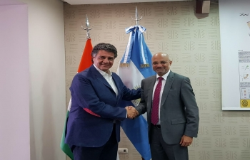 Ambassador Dinesh Bhatia pays a visit to Mr. Jorge Macri, Mayor of Vicente López, Province of Buenos Aires