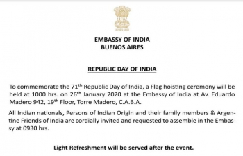Invitation of the Embassy of India in Buenos Aires to the Republic Day.