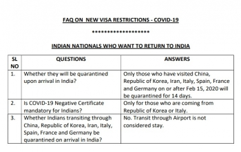 Update on COVID-19 - FAQ On New Visa Restrictions