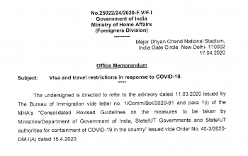 Update on COVID-19 - Visa and Travel Restrictions (as on 17 April)