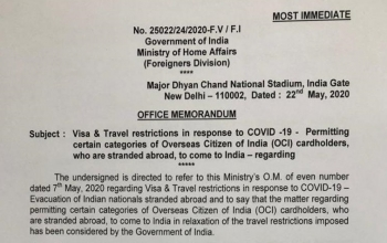 Update on COVID-19 - Visa & Travel restrictions in response to COVID-19 - OCI cardholders (as on 22 May)