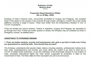 Update on COVID-19 - FAQs Assistance To Stranded Indians (as on 25 May)