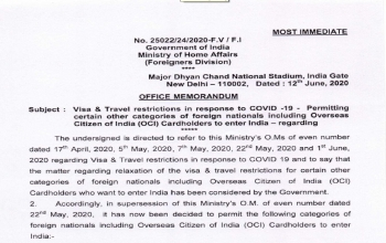 Update on COVID-19 - Visa & Travel restrictions in response to COVID-19 – Permitting certain other categories of foreign nationals including Overseas Citizens of India (OCI) Cardholders to enter India(As on 1st June)