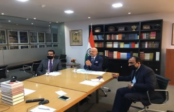 Ambassador Dinesh Bhatia addressed over 130 exporters and companies from India over a video conference hosted by Federation of Indian Export Organizations