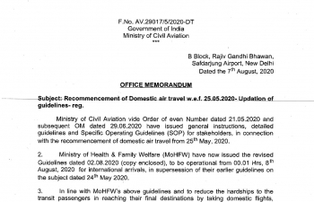 Recommencement of Domestic air travel w.e.f. 25.05.2020. Updation of guidelines. (As on August 2nd)
