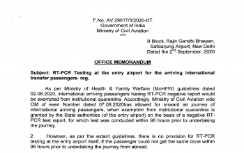 RT-PCR Testing at the entry airport for the arriving international transfer passengers (As on September 2nd)