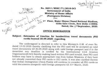 Extension of timeline for handwritten travel documents (PIO cards) (As on September 30, 2020)
