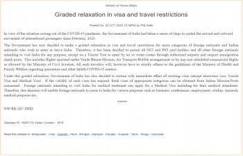 Graded relaxation in visa and travel restrictions (As on Octobre 22nd)