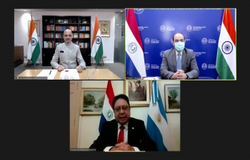 Ambassador Dinesh Bhatia presented copies of his credentials to Foreign Minister of Paraguay Antonio Rivas Palacios