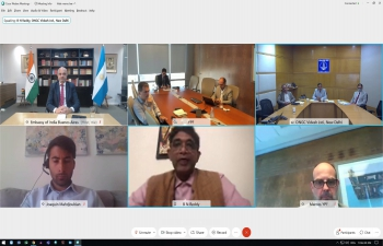 Videoconference between CEO YPF Sergio Affronti and new MD of ONGC VIDESH Limited AK Gupta,