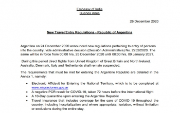 New Travel/Entry Regulations - Republic of Argentina