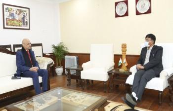 Ambassador of India to Argentina, Uruguay & Paraguay Shri DineshBhatia met Union Minister of Ports, Shipping & Waterways(I/C) Shri Mansukh Mandviya in New Delhi
