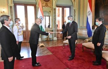Ambassador Dinesh Bhatia presented credentials to President Mario Abdo at Presidencia Paraguay