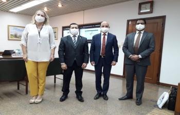 Continuing with agenda of deepening economic relations between India and Paraguay, Ambassador Dinesh Bhatia met Felix Eladio Sosa, President ANDE and Liz Cramer, Representative of Ministry of External Affairs Paraguay to ITAIPÚ