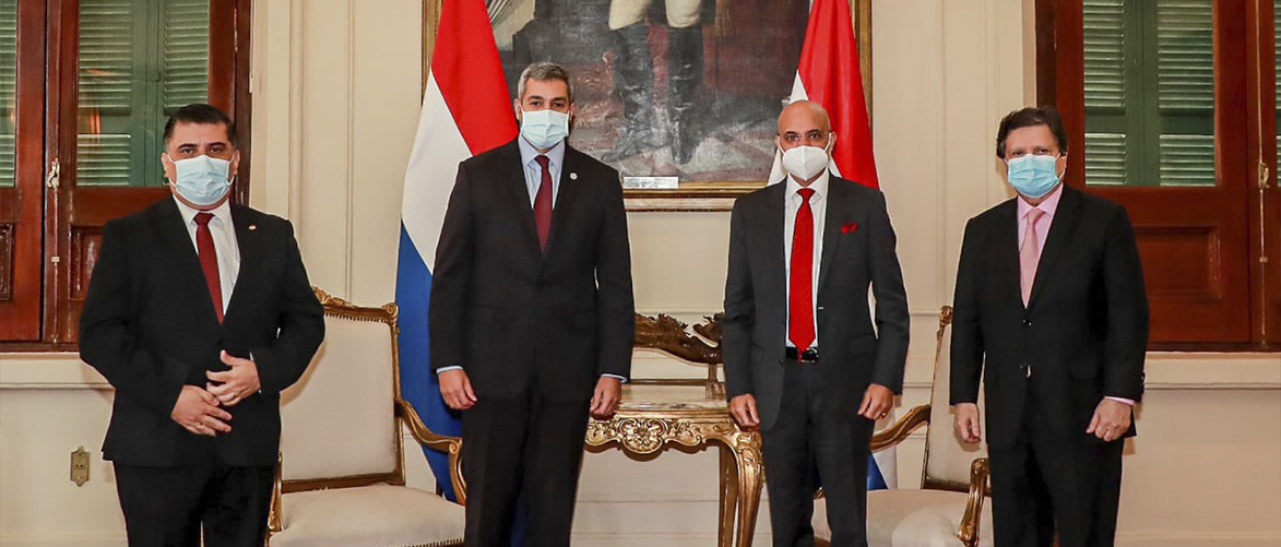 Ambassador met President of Paraguay Mario Abdo Benitez accompanied by Euclides Acevedo, Minister of Foreign Affairs; Hernán Huttemann, Chief of Cabinet and Julio Borba, Minister of Public Health