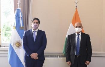 Ambassador Dinesh Bhatia met Education Minister Nicolás Trotta and Secretary Pablo Gentili at Ministerio de Educación.