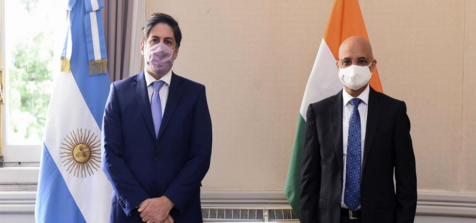 Ambassador Dinesh Bhatia met Education Minister Nicolás Trotta and Secretary Pablo Gentili at Ministerio de Educación