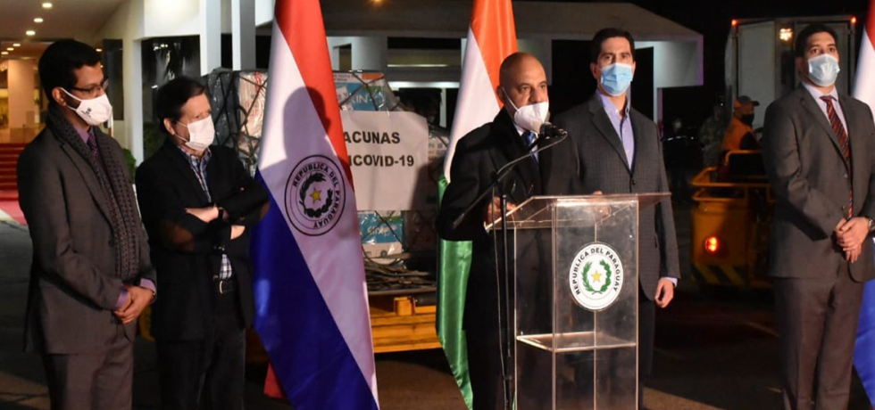 Ambassador Dinesh Bhatia received the second batch of 100k #MadeinIndia Covaxin doses in Paraguay