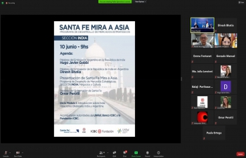 """Ambassador Dinesh Bhatia joined Governor of Argentine Province of Santa Fe, Omar Perrotti and Argentine Ambassador in India Hugo Gobbi in inaugurating """"Santa Fe mira a Asia"""""""