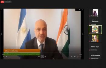 El Embajador Dinesh Bhatia se dirigió al V Congreso Virtual de Escuelas de Yoga organizado por la Federación Sudamericana de Yoga, Argentina
