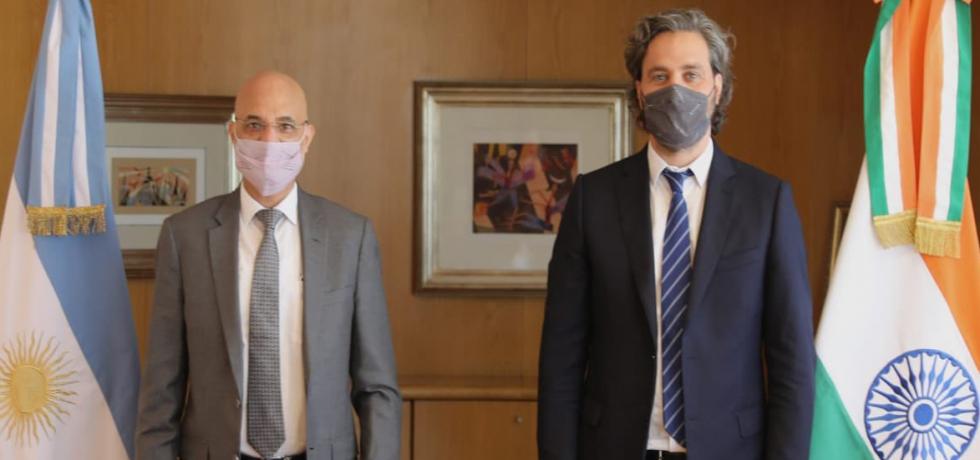 El Embajador Dinesh Bhatia se reunió con el Canciller Santiago Cafiero en Cancillería Argentina